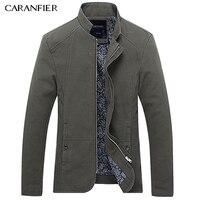 CARANFIER Men Jacket Coat For Spring Autumn Wear Turn Down Collar High Quality Cotton Thin Slim