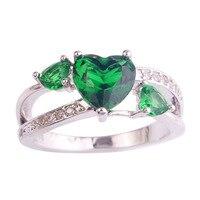 lingmei Love Jewelry Wedding Party Rings Heart Emerald Quartz White Topaz 925 Silver Ring Size 6 7 8 9 10 Wholesale Free Ship