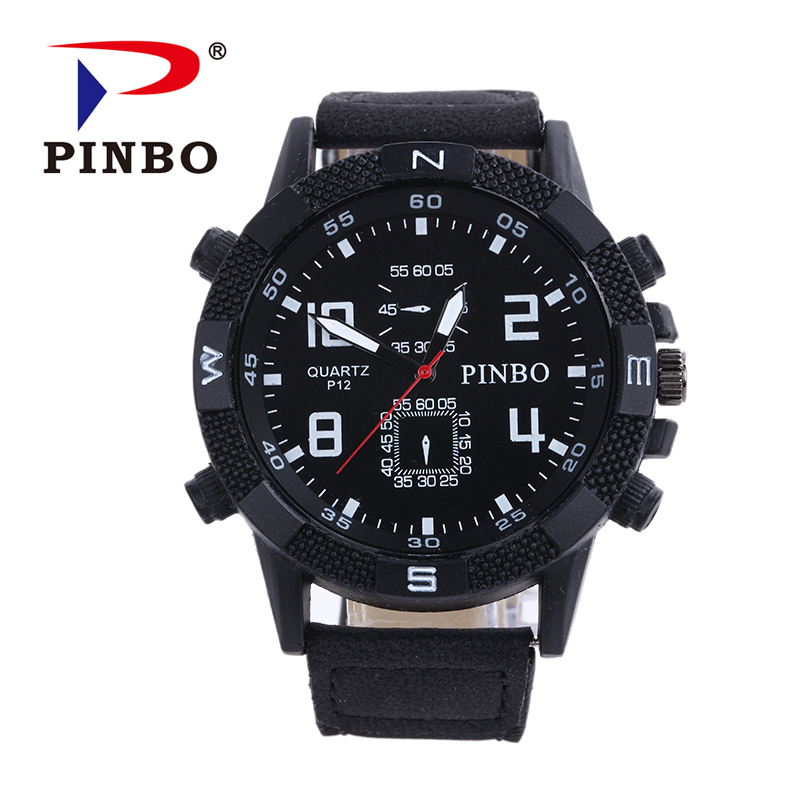 2016 Mens Watches PINBO Brand Luxury Casual Military Quartz Sports Wristwatch Leather Strap Male Clock watch relogio masculino 2017 oukeshi brand men sports watches luxury leather military watch male quartz wristwatch relogio masculino oks11