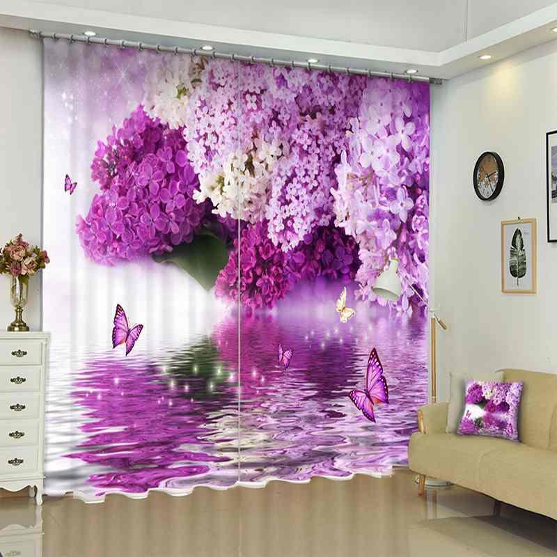 1 Set 100% rideau de taux occultant violet Floral 3D impression rideaux de fenêtre rideaux pour salon chambre hôtel mur tapisserie