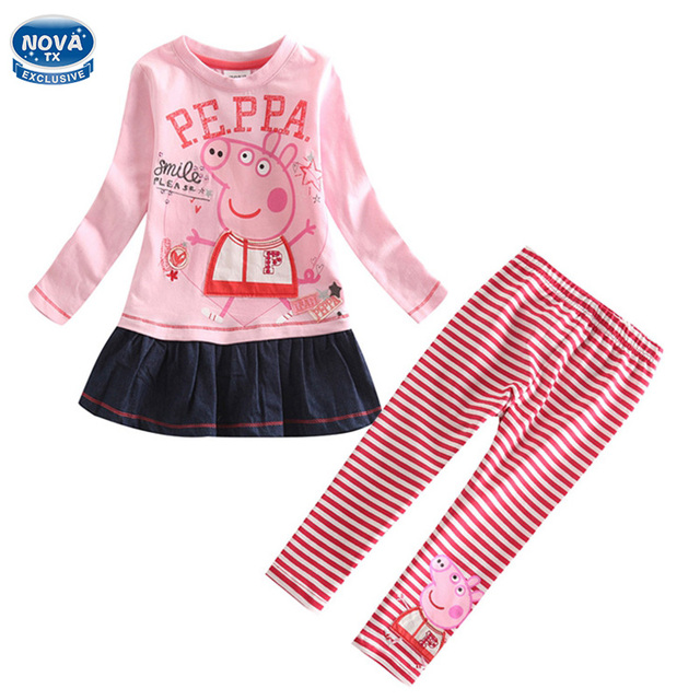 kids clothing girls set active children clothing sets autumn/winter clothes printed cartoon pig long sleeve girls clothes FG5120