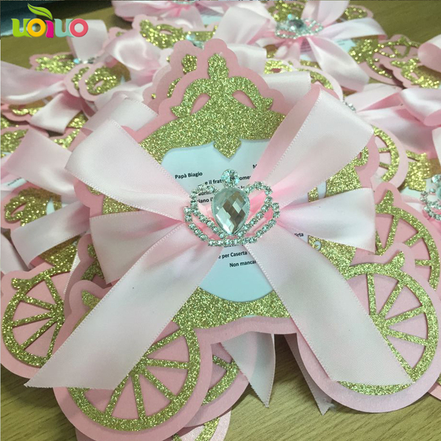Glitter Gold With Pink Card Lovely Laser Cut Unique Carriage Baby