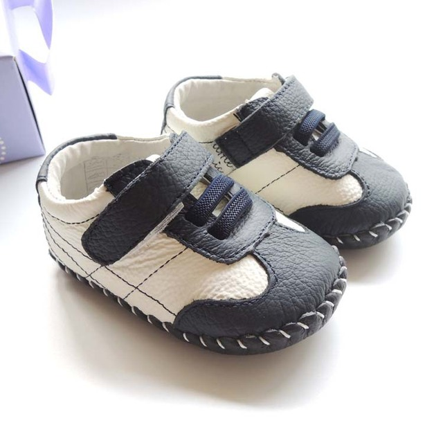 Fashion Boys Leather Shoes Genuine Leather Blacek White Patch Fashion Baby Shoes For 12-24M Kids
