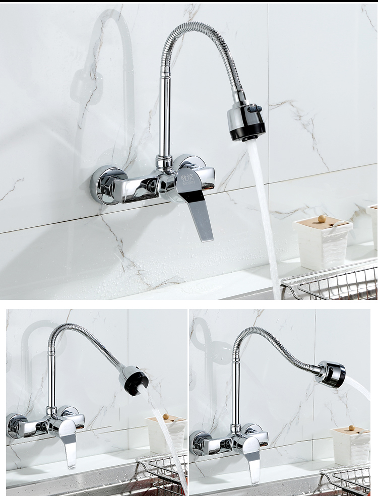 Free Shipping Stream Spray Bubbler Bathroom Kitchen Faucet Wall Mounted Dual Hole Hot and Cold Water Flexible Pipe Kitchen Mixer