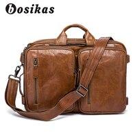 BOSIKAS пояса из натуральной кожи Бизнес Мужские портфели двойного назначения сумка с плечевым ремнем большой вместительные сумки кожа сумка
