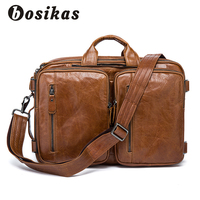 BOSIKAS Genuine Leather Business Mens Briefcases Double Purpose Bag With Shoulder Strap Large capacity Bags Leather laptop bag