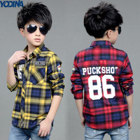 YODINA Kids Clothes Spring Autumn Children Blouses Boys Plaid Shirt Long Sleeve Teenagers Letter Printed Shirt