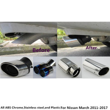 For Nissan March 2011 2012 2013 2014 2015 2016 2017 Car Cover Muffler End Tail Pipe Dedicate Stainless Steel Exhaust Tip 1pcs