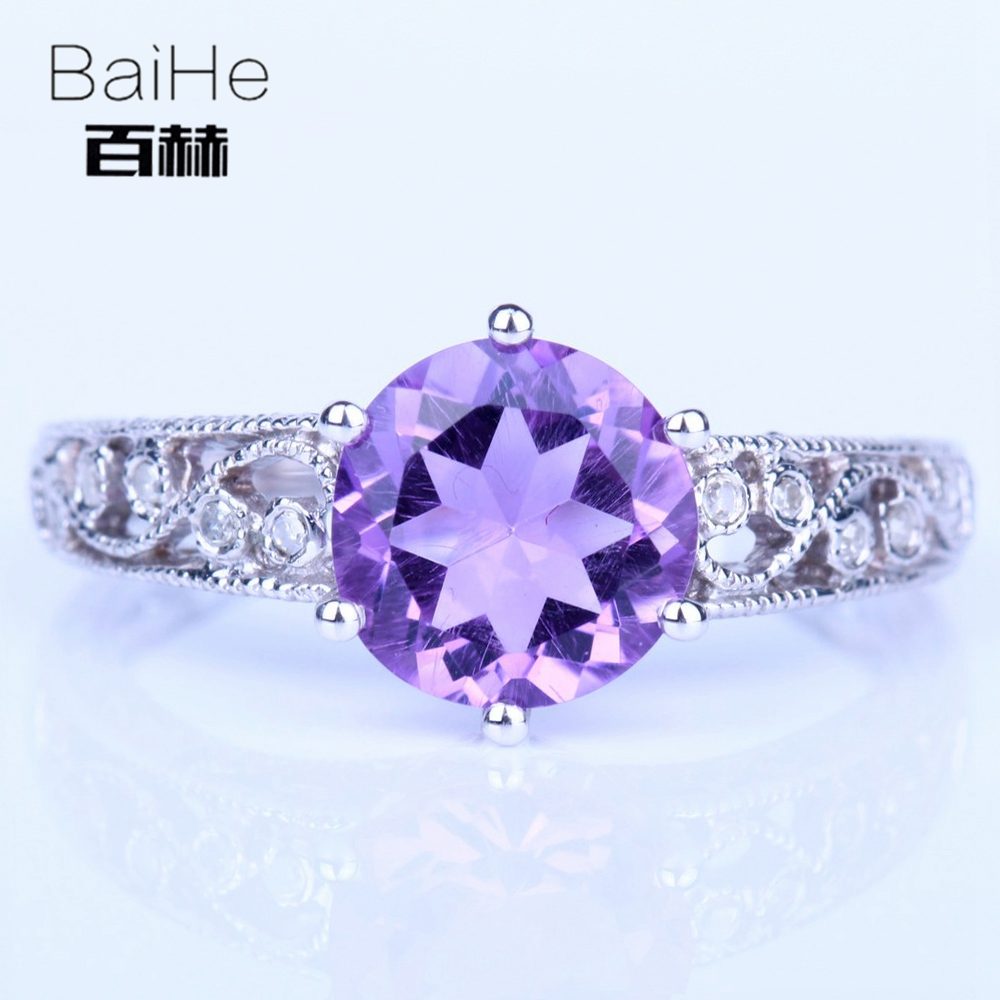 BAIHE Sterling Silver 925 2.12ct Certified Round cut 100% Genuine Amethyst Flawless Engagement Women Trendy Fashion Gift Ring цена