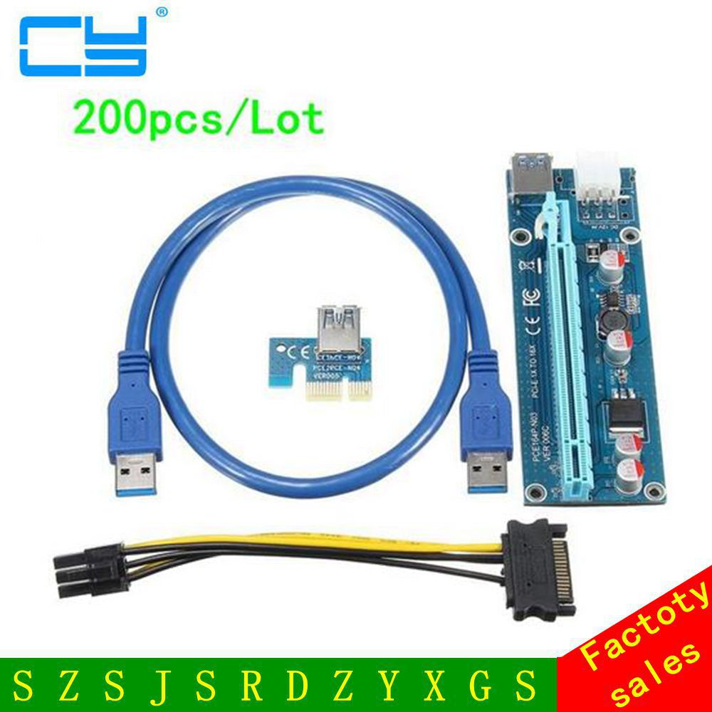 PCI-E PCI Express Riser Card 1x to 16x USB 3.0 Data Cable SATA to 6Pin IDE Molex Power Supply for BTC Miner Machine 200Pcs/Lot