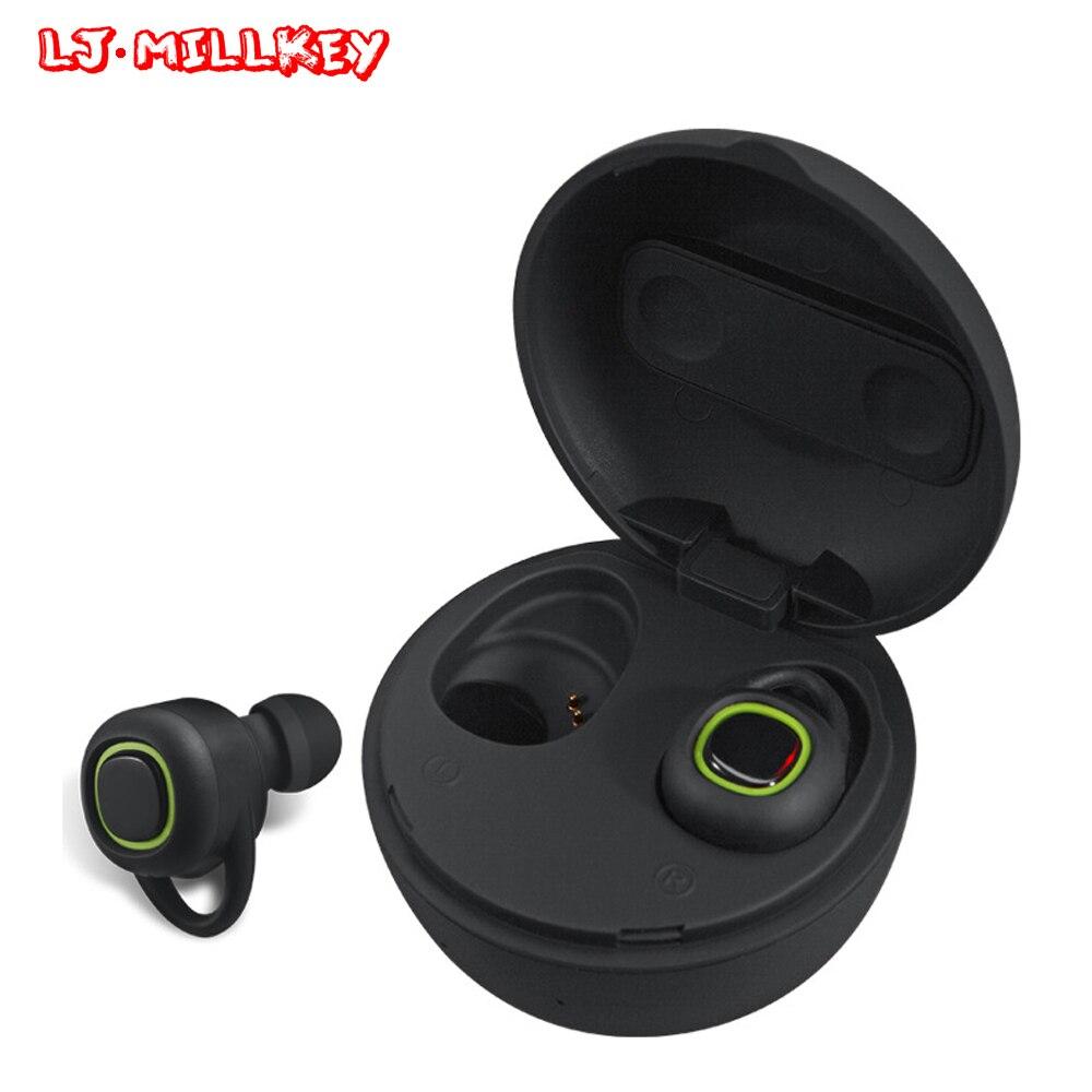 Newest Twins True Wireless Earbuds Mini Bluetooth In-Ear Stereo TWS Wireless Earphones With Charging Box LJ-MILLKEY YZ108 twins true tws wireless bluetooth earphone stereo mini two earbuds portable handsfree in ear with charging socket box dock