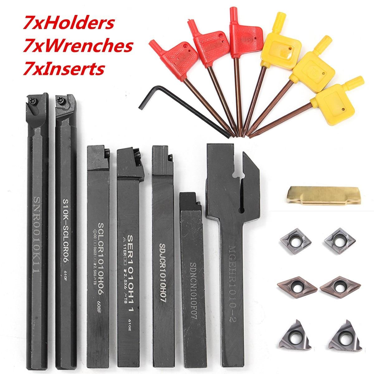 Conjunto de 21 unidades de insertos de carburo DCMT CCMT + portaherramientas de 10mm de barra de taladrado + llave para herramienta de torneado de torno
