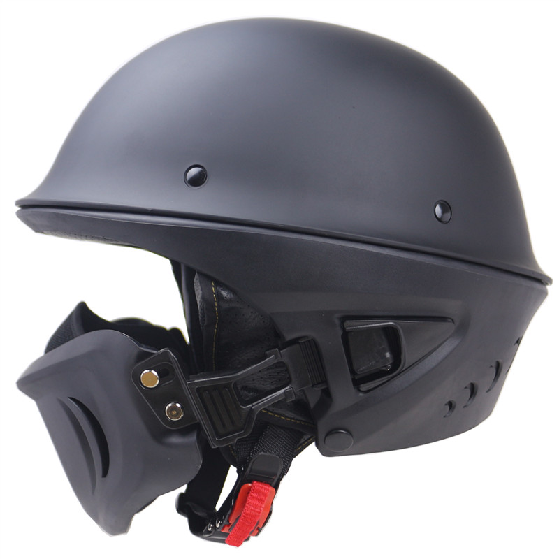 2019 new arrival Rouge Capacete DOT Aprovado estilo Chopper de segurança capacete com máscara Destacável forro removível e lavável