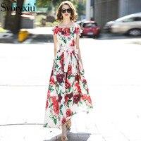 Svoryxiu 2018 Runway Fashion Women's Off the Shoulder Dress Floral Print Draped Elegant Party Boho Dresses + Diamonds Sashes