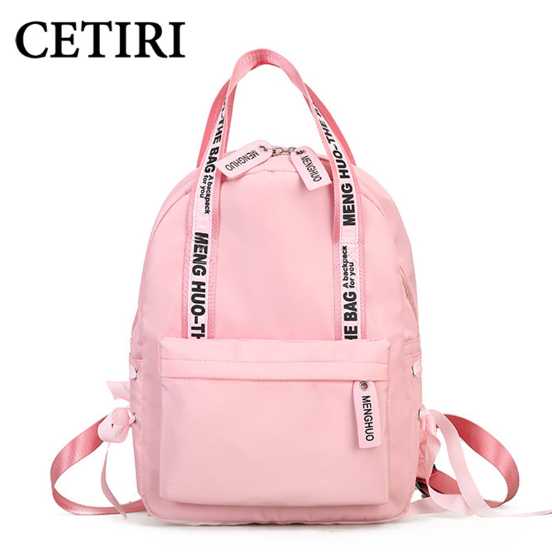 CETIRI Nylon Backpack Women Preppy School Bags For Teenagers Female Large Capacity Travel Bags Girls Bowknot Backpack Mochilas