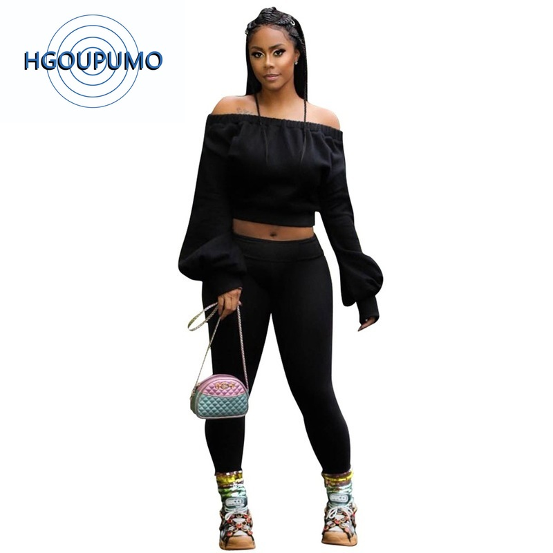 Sexy 2 Piece Set Tracksuit Summer Clothes For Women Off The Shoulder Long Sleeve Crop Top And Fitness Pant Casual 20190529