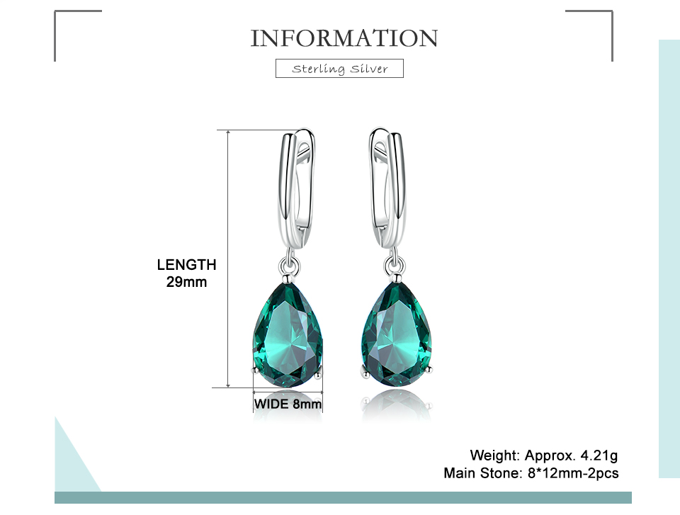 UMCHO ??Emerald 925 sterling silver earring for women EUJ094E-1-pc (2)