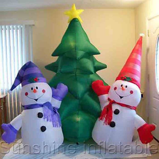 new 3m giant inflatable christmas yard decorationsinflatable christmas tree2 snowman for holidays - Christmas Tree Yard Decorations