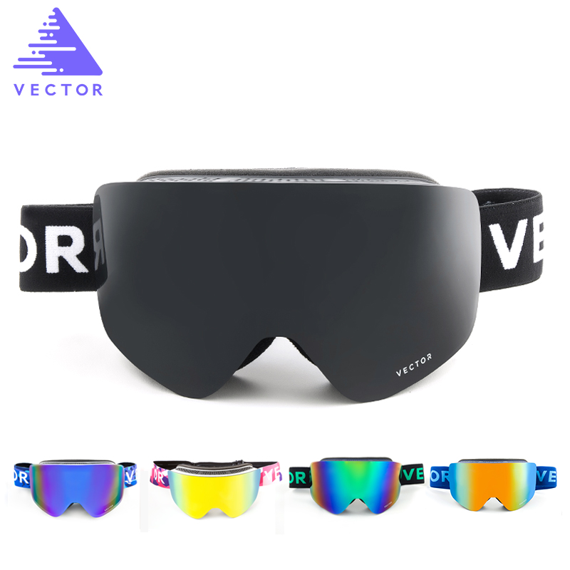 VECTEUR Ski Lunettes Hommes Femmes 2 Lentille UV400 Anti-brouillard Ski Lunettes Motoneige Snowboard Neige Lunettes De Patinage Masque de Ski lunettes