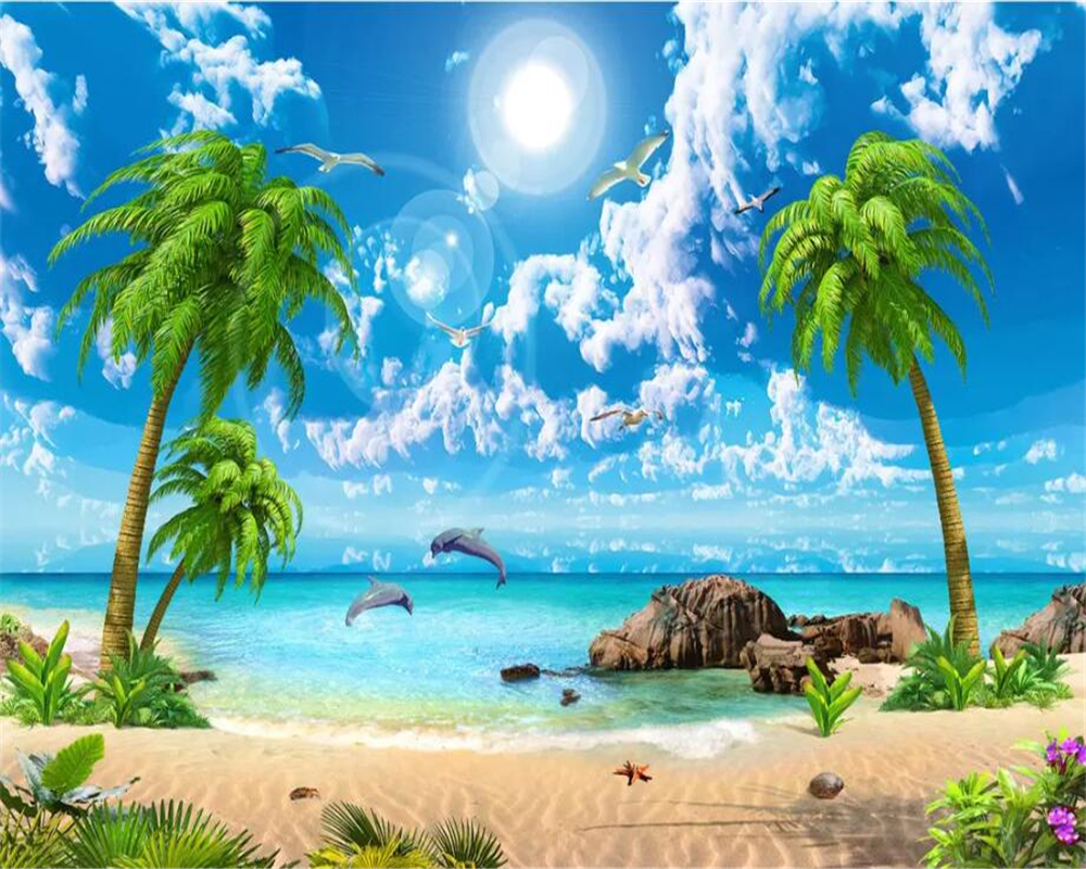 US $8 85 OFF Wellyu Custom Fresco Wallpaper 3D Mural обои Beautiful Fantasy Sea View Coconut Trees Beach Scenery Sofa Background Wall Paper Tv