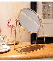 1pc Nordic Wind Makeup Mirror Desktop Single Mirror Copper Edge Square Round Mirror Princess Vanity Mirror G0504