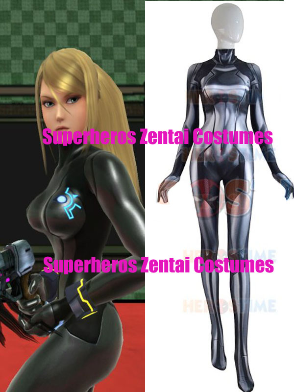 3D Print Black Samus Aran Metroid Zero Suit Cosplay Costume Game Zentai Catsuit ZSS black alt