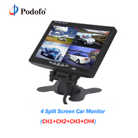 Podofo 7 Inch 4 Split Screen Car Monitor DC 12V 4 Channels TFT LCD Display For