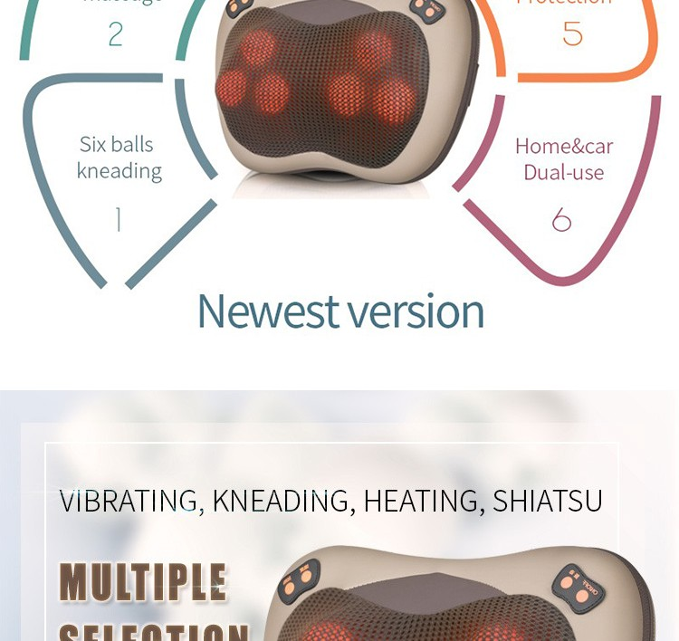 JinKaiRui Vibrating Kneading Neck Body Massager Hammer Pillow Infrared Shiatsu Electric Shoulder Back Massage Massages Car/Home 12