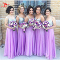 Brilhante Decote V Spaghetti Com Roxo da Alfazema Da Dama de Honra Vestidos 2017 Vestidos de Dama De Honra Adulto Para Convidados Do Casamento