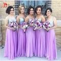 Sparkly V Neckline Spaghetti Straps With Purple Lavender Bridesmaid Dresses 2017 Dama De Honra Adulto For Wedding Guests Gowns