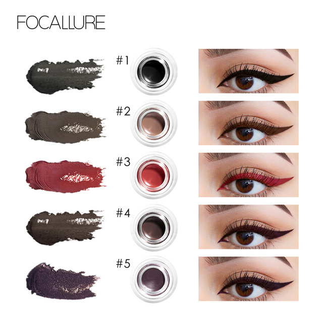 FOCALLURE 2pcs/set  Black Eyeliner Gel Cream waterproof long lasting eyeliner professional eyebrow gel with brushes 1