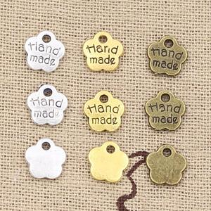 30pcs Charms HAND MADE 8x8mm Hollow Antique charms,pendant fit,Vintage Tibetan Bronze Silver Color gold,DIY Handmade Jewelry