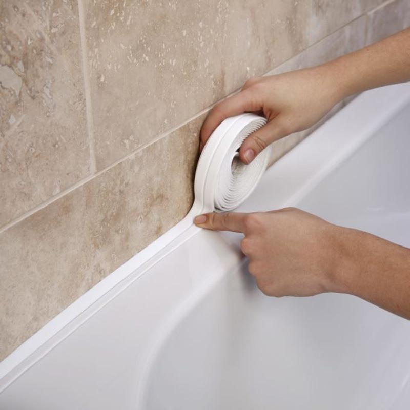 Nova Casa de Banho Banho de Chuveiro Pia Tira Da Selagem Fita Branca PVC Auto adesivo À Prova D' Água adesivo de Parede para Casa de Banho Cozinha