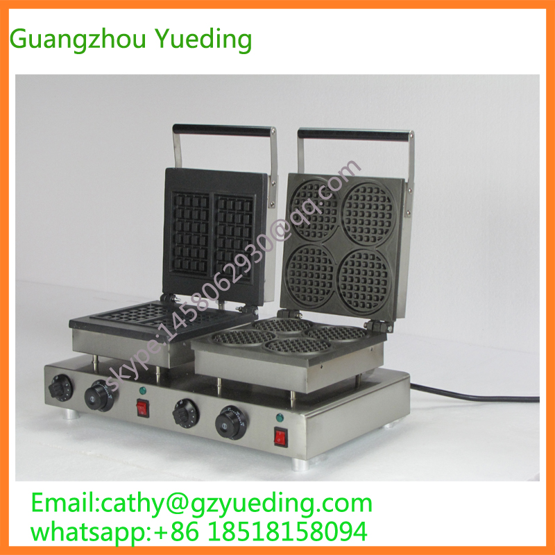Commercial electric double head egg waffle maker for round waffle and rectangle waffle