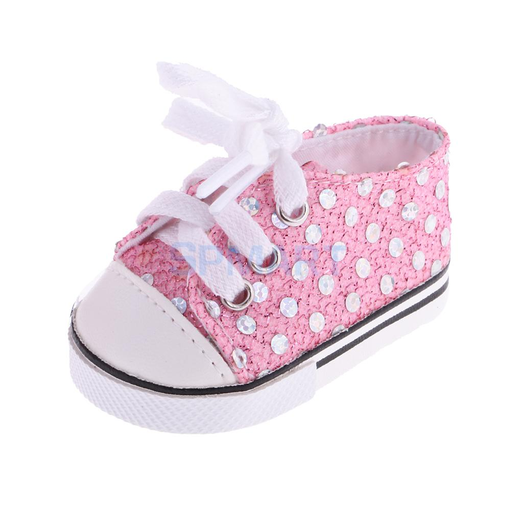 2 Pairs of Fashion Sequin Lace up Canvas Sneakers Shoes Tennis Shoes for 18inch American Girl Dolls Pink+White