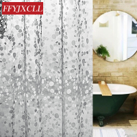 EVA Transparent Cobblestone Bathroom Shower Curtain Mildew Proof Thick Waterproof Fabric Bathroom Curtain