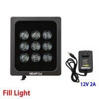 Black Metal 12V 2A 850nm 9Pcs Array Infrared 42mil Led Fill Night Vision illuminator Lamp For Surveillance Camera Freeshipping