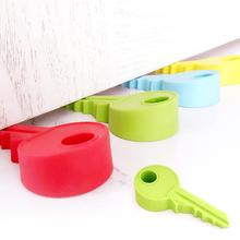 1pc Baby Silicone Key shaped Door Stopper Children Kids Jammers Holder Lock Safety Protect Jammer Finger Corner Guards Q2