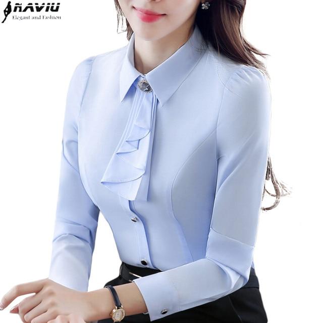 821e5e8ee7e Elegant ladies long-sleeve shirt autumn white purple bow tie chiffon women  blouse work wear formal office plus size top sky blue
