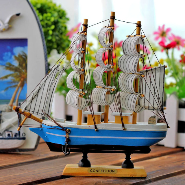 83a15a1c82 Mediterranean Style Boat Sailing Ship Christmas Gifts Bar Handicraft  Furnishing Articles Home Decor Gifts Crafts Sailing Model