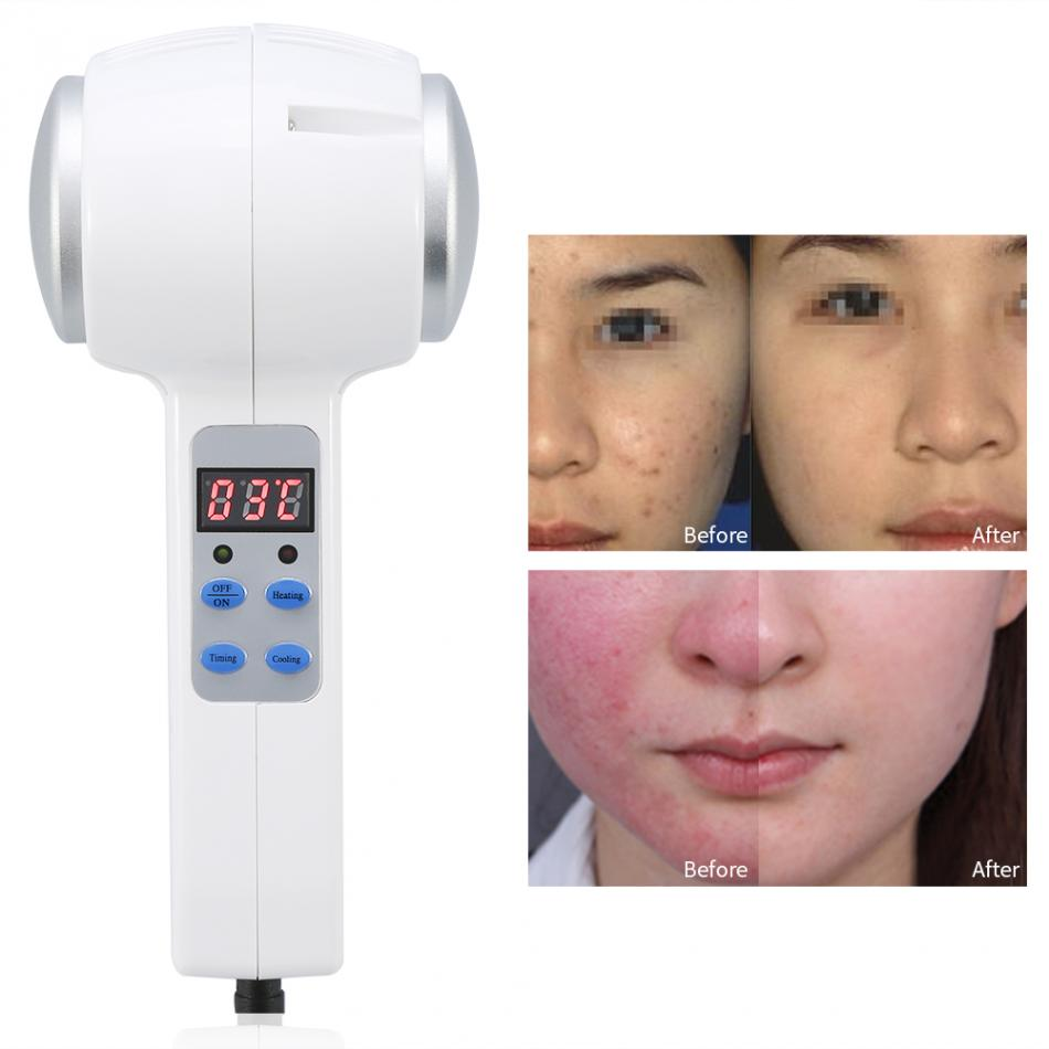 Hot Cold Hammer Ultrasonic Cryotherapy Skin Rejuvenation Face Lifting Beauty Massage Machine Anti-aging Tightening Tool EU Plug цена