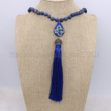 lapis stone necklace mix kind of beads mix color tassel retro dyed color necklace jewelry necklace for women 1374