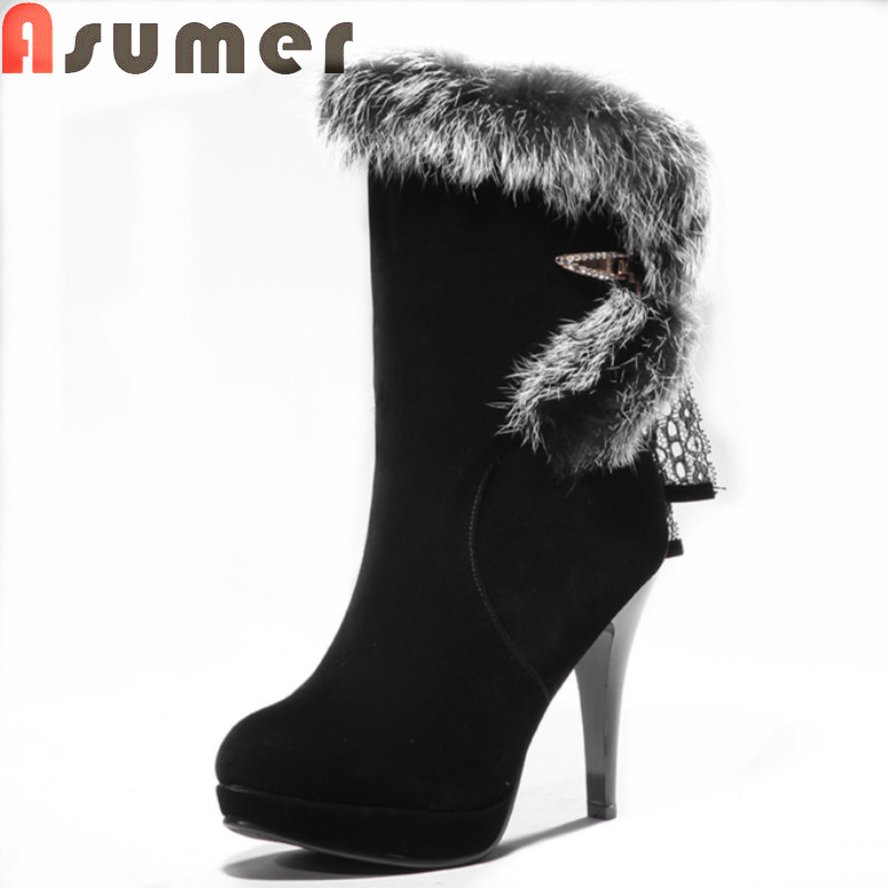 2017 winter warm hot sale stiletto high heels round toe platform women boots high quality ou nubuck leather black ankle boots