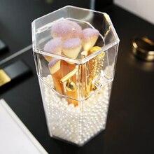 М шестиугольник PS пластиковая Кисть для макияжа нанизанный жемчуг коробка прозрачная шестиугольная пластиковая Кисть для макияжа жемчуг держатель для хранения коробка C5052