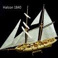 Envío libre halcon 1840 modelo de nave modelo de velero de madera del corte del laser barco juguetes educativos diy modelo de nave