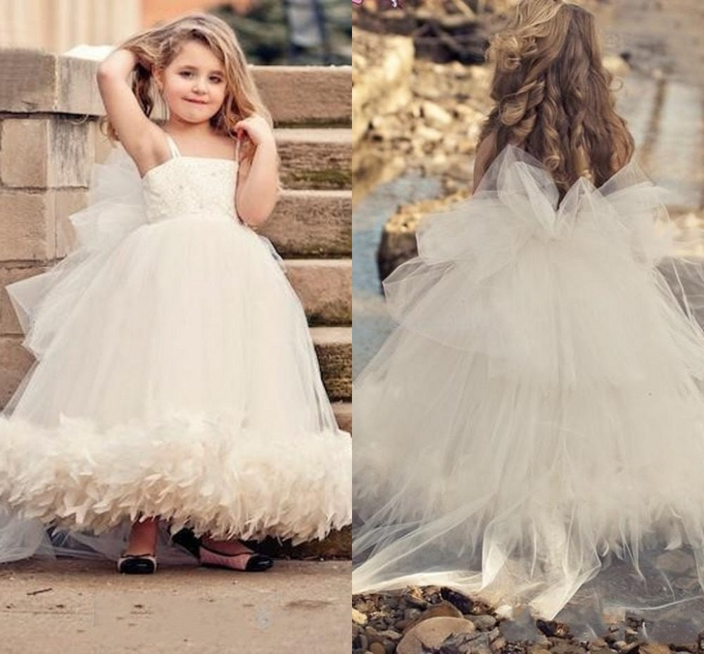 Fast delivery Custom Made Fancy Girls Puffy Dresses Evening Gowns Children Flower Girls Dress White Spaghetti Strap Organza