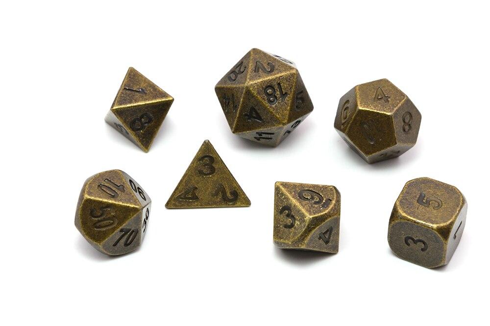 Jogo de dados de metal polyhedral de 7 com saco de dados para jogos de tabuleiro rpg dnd mtg cobre antigo