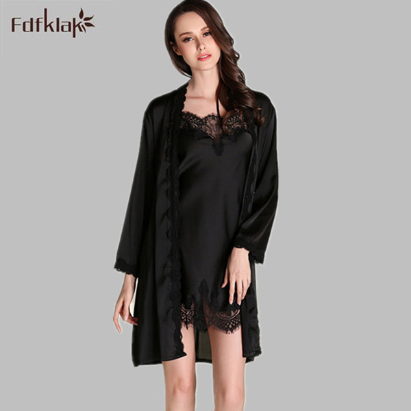 Fdfklak Fashion Women Spring Summer Silk Night Robe Long Sleeve Sexy Gowns & Robes Sets 2 Pieces Women's Silk Robes E0782