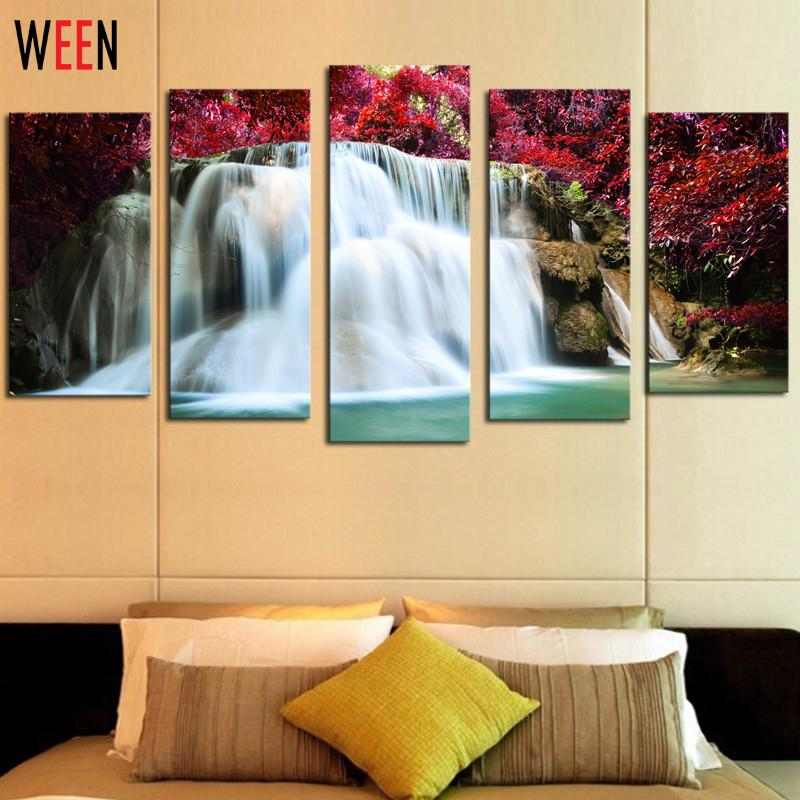 no frame 5 pcs red trees waterfall picture print painting wall decor home decoration cheap modern canvas art - Cheap Canvas Wall Art