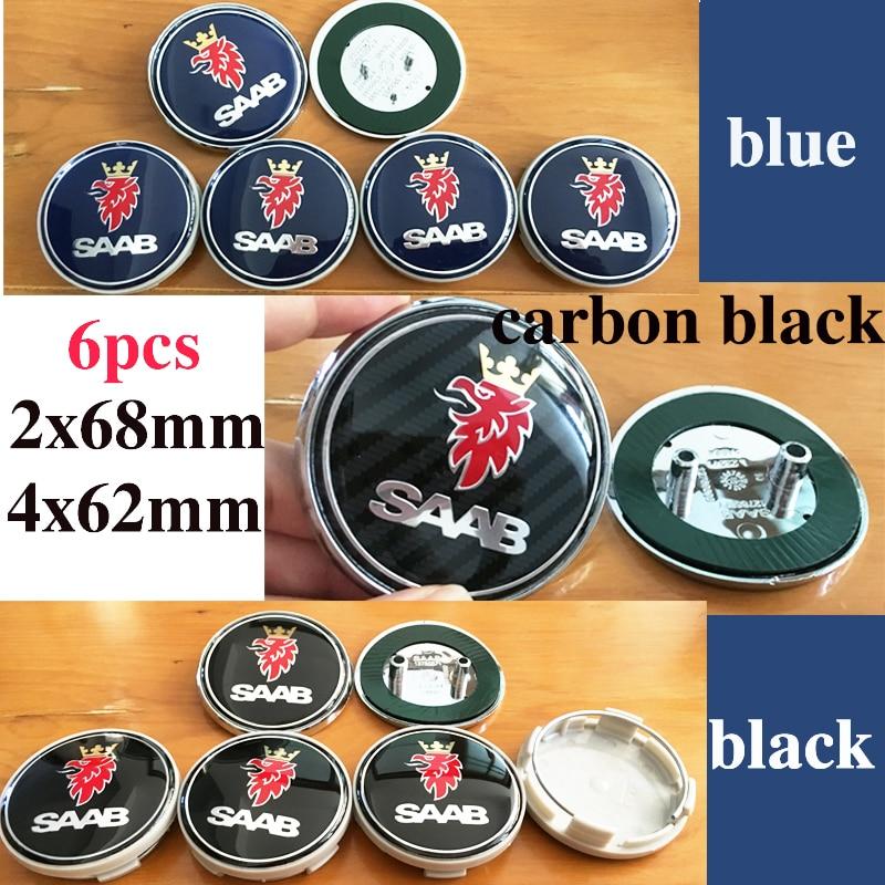 Car Badge stickers 6pcs 68mm Front Hood Emblem/Rear Emblem/4pcs 62mm saab Wheel center covers for saab 9-3 9-5 93 95 BJ